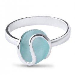 Дамски сребърен пръстен със светло синьо котешко око 2980