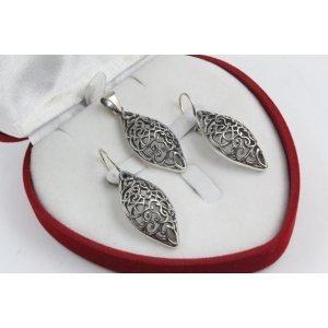 Дамски сребърен комплект Катерина тъмно сребро 2224