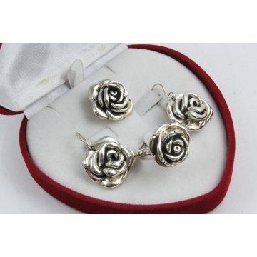 Дамски сребърен комплект Роза Ретро 2230