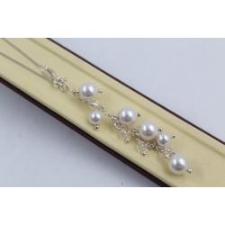РАЗПРОДАЖБА -25% Дамско сребърно колие с бели перли 2244