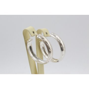Дамски сребърни обеци халки гравирани 2285