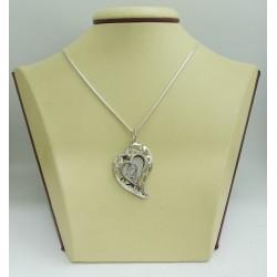 Дамски сребърен медальон Богородица Сърце