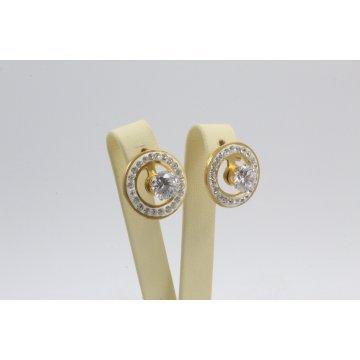 Дамски стоманени обеци жълта стомана бели камъни 2297