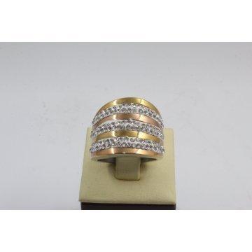 Дамски стоманен пръстен жълта розова стомана 2299