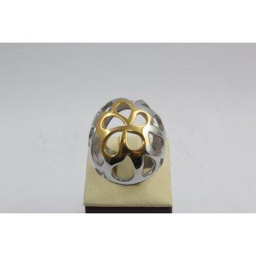 Дамски стоманен пръстен бяла жълта стомана 2300