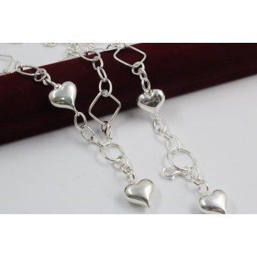 Дамски сребърен комплект Сърца 1 колие и гривна 2328