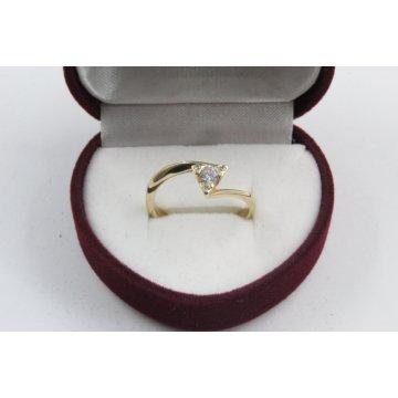 Златен годежен пръстен с бели циркони жълто злато 2331