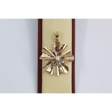 Дамски златен медальон Цвете бяло жълто злато 2364