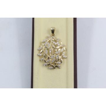 Дамски златен медальон Цветя жълто злато бели камъни 2364