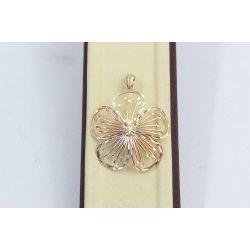 Дамски златен медальон Цветя жълто розово бяло злато 2364