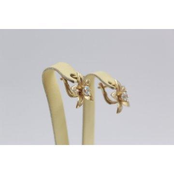 Дамски златни обеци Цветя жълто злато бели камъни 2365