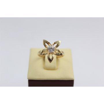 Дамски златен пръстен Цвете жълто злато бял камък 2366