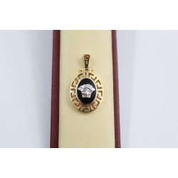 Дамски златен медальон Медуза бяло жълто злато 2367