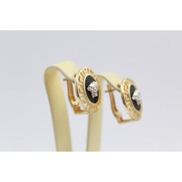 Дамски златни обеци Медуза бяло жълто злато 2369
