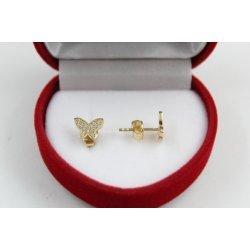 Дамски златни обеци пеперуда жълто злато бели камъни 2369