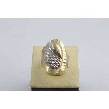 Дамски златен пръстен жълто и бяло злато 2370