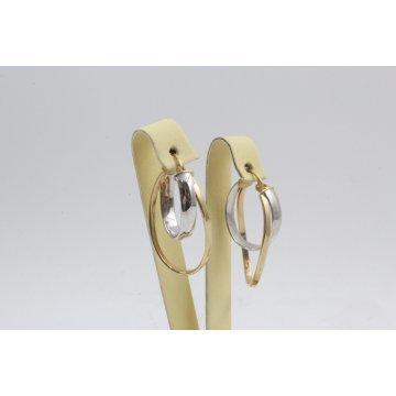 Дамски златни висящи обеци жълто бяло злато 2380