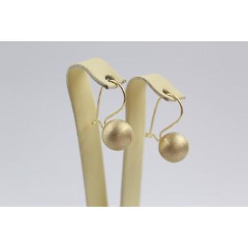 Дамски златни обеци топки жълто матирано злато 2410