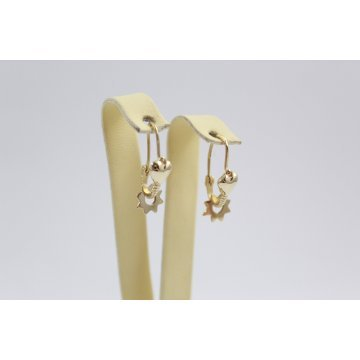 Дамски златни ретро обеци треперушки жълто злато 2412