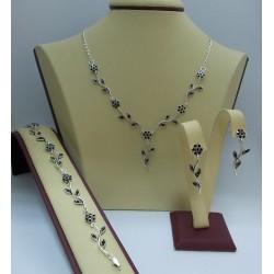 Сребърен дамски комплект Ангелски Цветя - черни