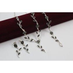 Сребърен дамски комплект Ангелски Цветя черни 244