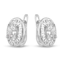 Дамски сребърни обеци с бели камъни и гръцка гравюра 2444