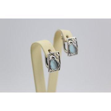 Дамски сребърни обеци с камък котешко око 2463