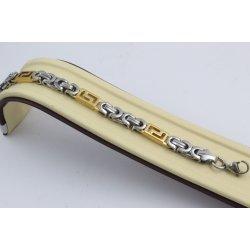 Стоманена гривна кралска плетка бяла жълта стомана 2487