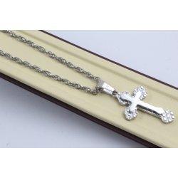 Стоманена дамска верижка с медальон кръст бяла стомана 2508