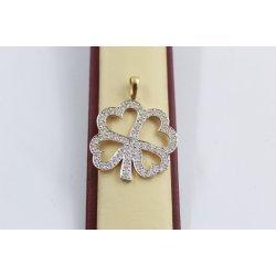 Дамски златен медальон детелина с бели камъни жълто злато 2536