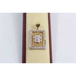 Дамски златен медальон Атина бели камъни бяло жълто злато 2538