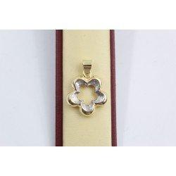 Дамски златен медальон цвете бяло жълто злато 2539
