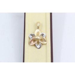 Дамски златен медальон цвете бяло жълто розово злато 2539