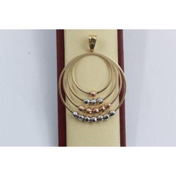 Дамски златен трицветен медальон 2540