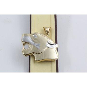 Дамски златен медальон глава на гепард бяло жълто злато 2541