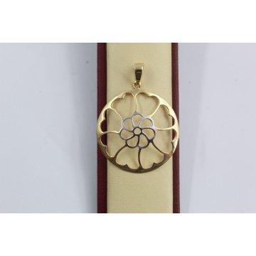 Дамски златен медальон бяло жълто злато 2542