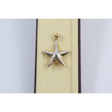 Дамски златен медальон звезда жълто бяло злато 2545