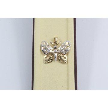 Дамски златен медальон пеперуда бяло жълто злато 2555