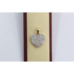 Дамски златен медальон сърце с бели камъни жълто злато 2557