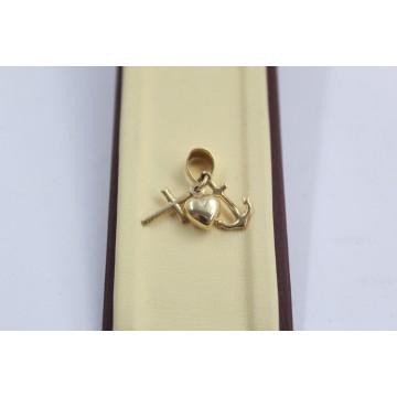 Дамски златен медальон вяра надежда любов 2559