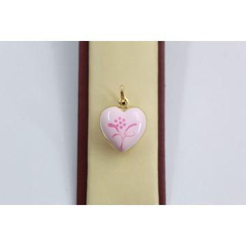 Дамски златен медальон сърце с розов емайл и гравюра 2566