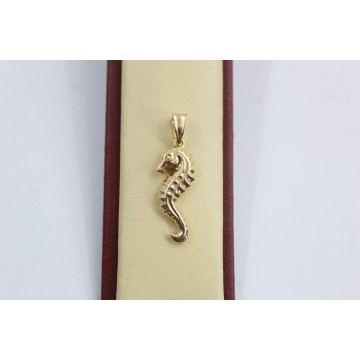 Дамски златен медальон морско конче жълто злато 2567