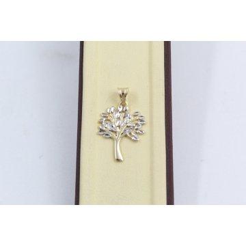 Дамски златен медальон дървото на живота жълто бяло злато 2568