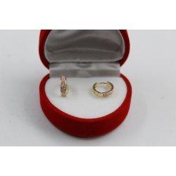 Златни детски обеци халки жълто злато бели и розови камъни 2590