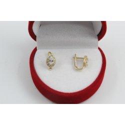 Златни детски обеци жълто злато бели камъни 2592