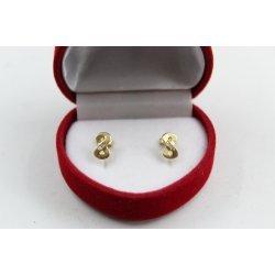 Златни детски обеци жълто злато бели камъни Безкрайност 2592