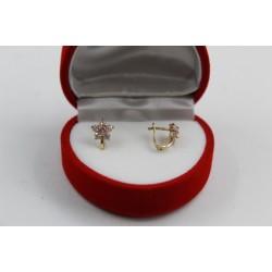 Златни детски обеци цветя жълто злато розови и бели камъни 2597
