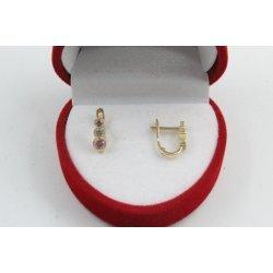 Златни детски обеци жълто злато розови и бели камъни 2597
