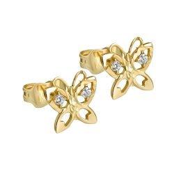 Златни детски обеци жълто злато Пеперуди 2597