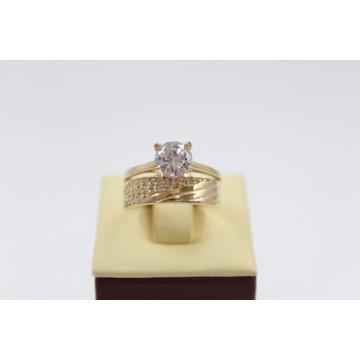 Дамски златен годежен пръстен с бели циркони 2607